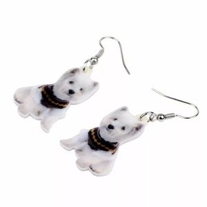 Acrylic West Highland White Terrier Dog Earrings
